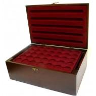 Holz-Münzkassette inkl 10 Münztableaus für 350 Stk 10 Euro, 20 Euro, 10 DM Münzen in Kapseln