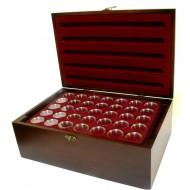 Holz-Münzkassette inkl 10 Münztableaus für 350 Stk 10 Euro, 20 Euro, 10 DM Münzen in Kapseln + 350 Münzkapseln 32,5mm