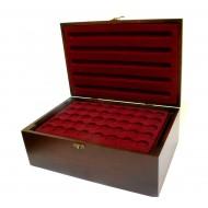 Holz-Münzkassette inkl 10 Münztableaus für 400 Stk 2 Euro Münzen in Kapseln