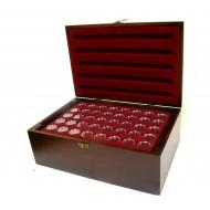 Holz-Münzkassette inkl 10 Münztableaus für 400 Stk 2 Euro Münzen in Kapseln + 400 Münzkapseln 26mm